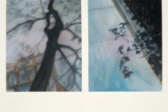"Sidewalk Shadow Series I<br />Watercolor & pastel on paper, 18""X24"""