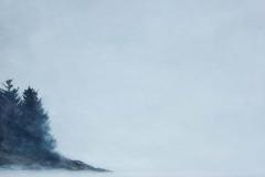 "Buck's Harbor, Gray Day<br />Oil on board, 19x15"""