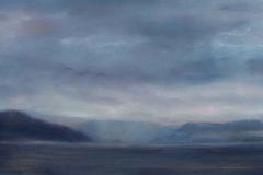 "Gathering Storm II<br /> Oil on board, 7x18"""