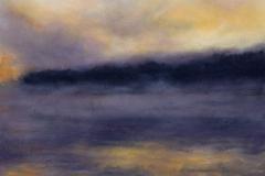 "River Smoke II<br />Oil on board, 13 x 13"""