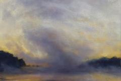"River Smoke I<br />Oil on board, 13 x 13"""