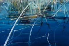 """St John's River I<br />Oil on board, 12"""" square"""