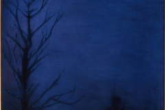 """By the Light of the Moon<br />Oil on board, 18""""X7"""""""
