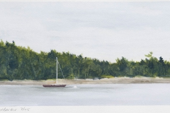 """Bucks Harbor, At Anchor<br />On paper, 9 1/2"""" X 4 1/2"""""""