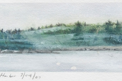 "Buck Harbor In Fog<br />On paper, 9 1/2"" X 4 1/2"""