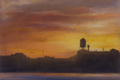 """Greenpoint First Light<br />Oil on panel, 12"""" sq."""