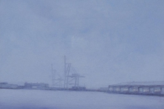 """East River<br /> Oil on board, 12"""" sq."""