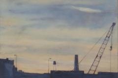 "Morning Crane<br />Oil on board, 12"" sq."