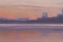 "Sunrise East River<br />Oil on panel, 15"" X 32"""